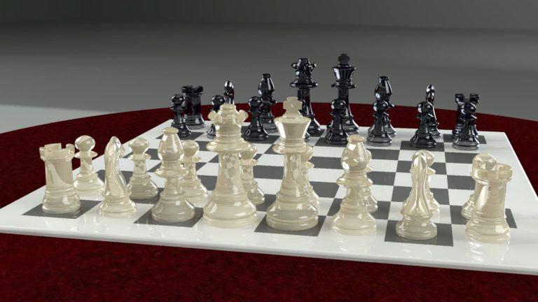 Scacchi e scacchiera 3d